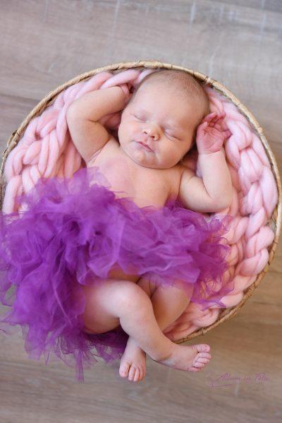 Shooting de naissance dans panier à domicile 1