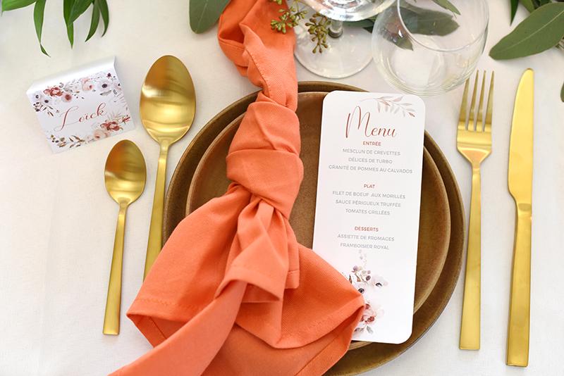 Décoration ton orangé pour table mariage